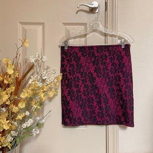 Faux lace pink mini skirt